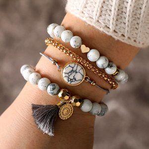 3/$20 New Grey White Gold Beaded Tassel Bracelets
